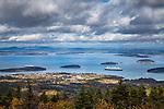 Fall foliage and a cruise ship in Acadia National Park, Maine, USA