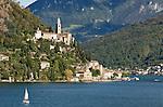 Switzerland, Ticino, Morcote at Lago Lugano with church Santa Maria del Sasso   Schweiz, Tessin, Morcote am Luganer See mit Kirche Santa Maria del Sasso