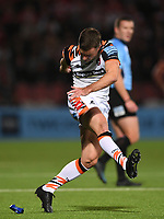 24th September 2021;  Kingsholm Stadium, Gloucester, England; Gallaher Premiership Rugby, Gloucester Rugby versus Leicester Tigers: George Ford of Leicester Tigers kicks a conversion