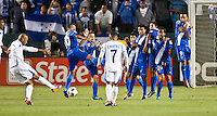 CARSON, CA – June 6, 2011: Guatemalan wall attempts to block a penalty kick during the match between Guatemala and Honduras at the Home Depot Center in Carson, California. Final score Guatemala 0, Honduras 0.