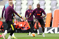 25th May 2021; Gdansk, Poland; Manchester United training at the Stadion Energa Gdańsk prior to their Europa League final versus Villarreal on May 26th;  LUKE SHAW PAUL POGBA