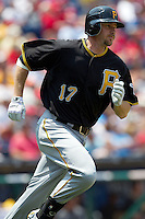 Pittsburgh Pirates outfielder Drew Sutton #17 runs to first base during the Major League Baseball game against the Philadelphia Phillies on June 28, 2012 at Citizens Bank Park in Philadelphia, Pennsylvania. The Pirates defeated the Phillies 5-4. (Andrew Woolley/Four Seam Images).