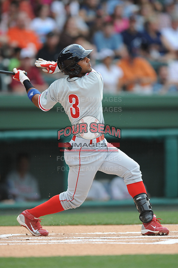 Lakewood Blue Claws Jonathan Villar South Atlantic League All Star Game at Fluor Field in Greenville, South Carolina June 22, 2010.   The game ended in a 5-5 tie.  Photo By Tony Farlow/Four Seam Images
