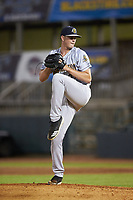 Charleston RiverDogs relief pitcher Tanner Myatt (37) in action against the Hickory Crawdads at L.P. Frans Stadium on August 10, 2019 in Hickory, North Carolina. The RiverDogs defeated the Crawdads 10-9. (Brian Westerholt/Four Seam Images)