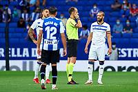 22nd September 2021: RCDE Stadium, Barcelona, Spain: La Liga Football, Espanyol versus Atletico Madrid; <br /> Referee checking the VAR