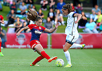 Boyds, MD - Saturday May 07, 2016: Washington Spirit midfielder Estefania Banini (10) goes for the ball with Portland Thorns FC defender Katherine Reynolds (2) during a regular season National Women's Soccer League (NWSL) match at Maureen Hendricks Field, Maryland SoccerPlex. Washington Spirit tied the Portland Thorns 0-0.