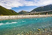 Waimakariri River with milking truck on the bridge near Arthur's Pass, Canterbury, New Zealand