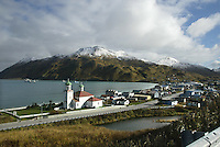10/23/03 crab NWS:: A view of Unalaska, AK with the Church of the Holy Ascension in the foreground and crab boats waiting to deliver live red king crab in their tanks in Iliuliuk Bay.