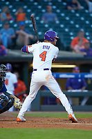 Grayson Byrd (4) of the Clemson Tigers at bat against the Duke Blue Devils in Game Three of the 2017 ACC Baseball Championship at Louisville Slugger Field on May 23, 2017 in Louisville, Kentucky. The Blue Devils defeated the Tigers 6-3. (Brian Westerholt/Four Seam Images)