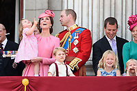 Catherine Duchess of Cambridge, Princess Charlotte, Prince George, Prince William<br /> on the balcony of Buckingham Palace during Trooping the Colour on The Mall, London. <br /> <br /> <br /> ©Ash Knotek  D3283  17/06/2017