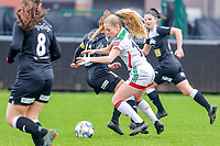 Tess Lameir (18) of OHL pictured during a female soccer game between Eendracht Aalst and OHL on the 13 th matchday of the 2020 - 2021 season of Belgian Scooore Womens Super League , Saturday 6 th of February 2021  in Aalst , Belgium . PHOTO SPORTPIX.BE   SPP   STIJN AUDOOREN