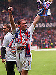 Ally McCoist celebrates Rangers 9 in a row titles at Ibrox, 10th May 1997
