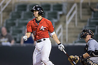 Seby Zavala (21) of the Kannapolis Intimidators follows through on his swing against the West Virginia Power at Kannapolis Intimidators Stadium on August 20, 2016 in Kannapolis, North Carolina.  The Intimidators defeated the Power 4-0.  (Brian Westerholt/Four Seam Images)