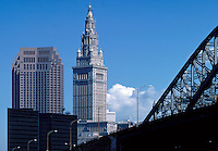 A portion of the Cleveland, Ohio skyline including part of the Detroit-Superior Bridge and the Terminal Tower. Cleveland Ohio USA.