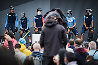 Team Movistar at the pre stage team presentation <br /> <br /> Stage 8 from Oyonnax to Le Grand-Bornand (150.8km)<br /> 108th Tour de France 2021 (2.UWT)<br /> <br /> ©kramon