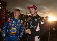 May 11, 2019; Tucson, AZ, USA; NASCAR K&N Pro Series driver Derek Kraus (left) and Tanner Gray during the Twin 100s at Tucson Speedway. Mandatory Credit: Mark J. Rebilas-USA TODAY Sports