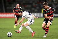 10th February 2021; Bankwest Stadium, Parramatta, New South Wales, Australia; A League Football, Western Sydney Wanderers versus Melbourne Victory; Robbie Kruse of Melbourne Victory is bundled off the ball by Patrick Ziegler of Western Sydney Wanderers