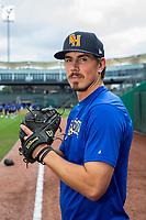 Midland RockHounds pitcher Parker Dunshee (29) poses for a photo on May 4, 2019, at Arvest Ballpark in Springdale, Arkansas. (Jason Ivester/Four Seam Images)