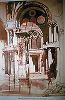 Watercolor sketch by John Ruskin. South side of St. Mark's. 1846.