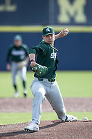 Michigan State Spartans /p/ Nick Powers (46) XXX against the Michigan Wolverines on March 22, 2021 in NCAA baseball action at Ray Fisher Stadium in Ann Arbor, Michigan. Michigan State beat the Wolverines 3-0. (Andrew Woolley/Four Seam Images)