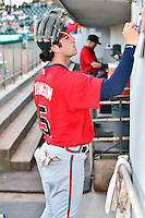 Mississippi Braves shortstop Dansby Swanson (5) signs autographs before a game against the Tennessee Smokies at Smokies Stadium on May 7, 2016 in Kodak, Tennessee. The Smokies defeated the Braves 5-3. (Tony Farlow/Four Seam Images)