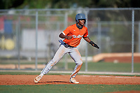 Calvert Clark (11) during the WWBA World Championship at Lee County Player Development Complex on October 8, 2020 in Fort Myers, Florida.  Calvert Clark, a resident of Charlotte, North Carolina who attends Charlotte Christian High School, is committed to Clemson.  (Mike Janes/Four Seam Images)