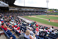 Fluor Field at the West End as seen from the first base side during a game between the Rome Braves and the Greenville Drive on Sunday, August 8, 2021, in Greenville, South Carolina. (Tom Priddy/Four Seam Images)