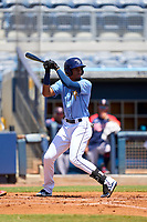 FCL Rays shortstop Willy Vasquez (96) bats during a game against the FCL Twins on July 20, 2021 at Charlotte Sports Park in Port Charlotte, Florida.  (Mike Janes/Four Seam Images)