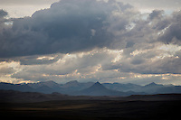 A storm rolls in on the Rocky Mountain Front outside Simms, Montana, USA, before a thunderstorm.