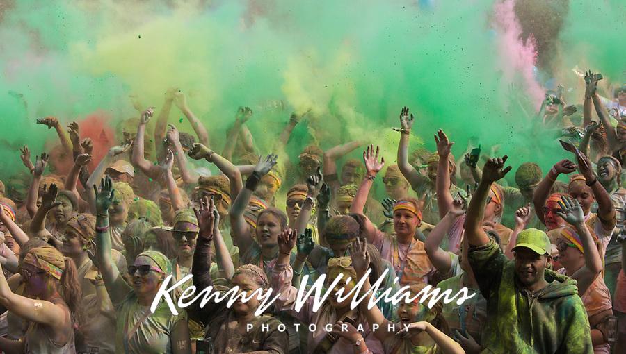 Crowd Celebrating Throwing Dye at Color Run Music Concert, Seattle Center, Washington State, WA, America, USA.