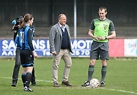 20180414 - AALTER , BELGIUM : Brugge's chairman Bart Verhaeghe pictured giving the matchball and kick off with referee Peter Vanbeselaere during the 21st matchday in the 2e Nationale Women's league , a womensoccer game between Club Brugge Dames and GFA Sinaai , in Aalter , saturday 15 th April 2018 . PHOTO SPORTPIX.BE   DAVID CATRY
