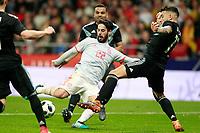 Spain's Isco Alarcon (c) scored goal in presence of Gabriel Mercado (l) and Nicolas Otamendi during international friendly match. March 27,2018.(ALTERPHOTOS/Acero) /NortePhoto.com NORTEPHOTOMEXICO