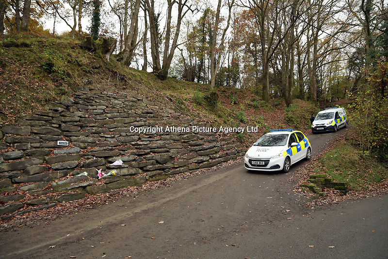 Pictured: Police in the lane leading to the farm where the house that burned is located in Llangammarch Wells, Powys, Wales, UK. Tuesday 31 October 2017<br />Re: Investigations continue into a house fire in which a father and several of his children have died.<br />Three children aged 13, 12 and 10 escaped the farmhouse in Llangammarch Wells, Powys, in the early hours of Monday and raised the alarm.<br />Police said they could not identify the deceased or confirm numbers.<br />One of those missing has been named locally as David Cuthbertson.