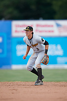West Virginia Black Bears second baseman Tristan Gray (2) during a game against the Batavia Muckdogs on June 25, 2017 at Dwyer Stadium in Batavia, New York.  West Virginia defeated Batavia 6-4 in the completion of the game started on June 24th.  (Mike Janes/Four Seam Images)