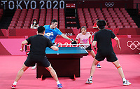 19th July 2021, TOKYO, JAPAN:  Chinese Table tennis players Liu Shiwen 2nd R and Xu Xin attend a training session ahead of the Tokyo 2020 Olympic Games