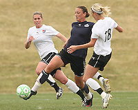 Abby Wambach (blue) of the Washington Freedom gets off a pass in front of Christie Shaner of Sky Blue F.C. during a WPS pre season match at Maryland Soccerplex,in Boyd's, Maryland on March 14 2009. Sky Blue won the match 1-0