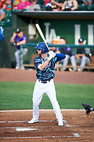 Andrew Shaps (14) of the Ogden Raptors bats against the Grand Junction Rockies at Lindquist Field on June 14, 2019 in Ogden, Utah. The Raptors defeated the Rockies 12-0. (Stephen Smith/Four Seam Images)