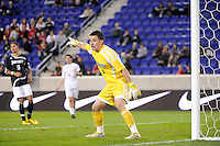 Providence Friars goalkeeper Jhojan Obando (1). The Providence Friars defeated the Cincinnati Bearcats 2-1 during the semi-finals of the Big East Men's Soccer Championship at Red Bull Arena in Harrison, NJ, on November 12, 2010.