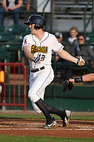 Burlington Bees second baseman Jordan Zimmerman (12) swings during a game against the West Michigan Whitecaps at Community Field on May 11, 2017 in Burlington, Iowa.  The Whitecaps won 10-3.  (Dennis Hubbard/Four Seam Images)