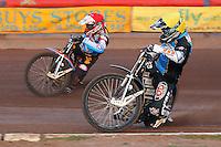 Heat 1: Richie Worrall of Kings Lynn inside Peter Karlsson - Vortex Lakeside Hammers vs Kings Lynn Stars - Sky Sports Elite League Speedway at Arena Essex Raceway, Purfleet - 23/04/13 - MANDATORY CREDIT: Gavin Ellis/TGSPHOTO - Self billing applies where appropriate - 0845 094 6026 - contact@tgsphoto.co.uk - NO UNPAID USE.