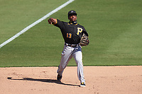 Pittsburgh Pirates Ke'Bryan Hayes (13) throws to first base during a Major League Spring Training game against the Baltimore Orioles on February 28, 2021 at Ed Smith Stadium in Sarasota, Florida.  (Mike Janes/Four Seam Images)