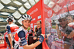 Giulio Ciccone (ITA) and Trek-Segafredo at sign on before Stage 5 the Al Ain Water Stage of the UAE Tour 2020 running 162km from Al Ain to Jebel Hafeet, Dubai. 27th February 2020.<br /> Picture: LaPresse/Massimo Paolone | Cyclefile<br /> <br /> All photos usage must carry mandatory copyright credit (© Cyclefile | LaPresse/Massimo Paolone)