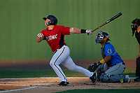 Potomac Nationals Jakson Reetz (1) at bat in front of catcher Miguel Amaya during a Carolina League game against the Myrtle Beach Pelicans on August 14, 2019 at Northwest Federal Field at Pfitzner Stadium in Woodbridge, Virginia.  Potomac defeated Myrtle Beach 7-0.  (Mike Janes/Four Seam Images)