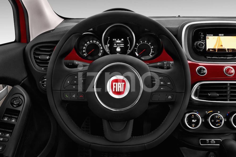 Car pictures of steering wheel view of a 2016 Fiat 500X-City-Look Pop-Star 5 Door Suv Steering Wheel