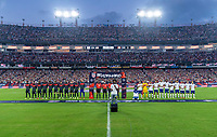 NASHVILLE, TN - SEPTEMBER 5: Canada and the United States stand for the national anthems during a game between Canada and USMNT at Nissan Stadium on September 5, 2021 in Nashville, Tennessee.