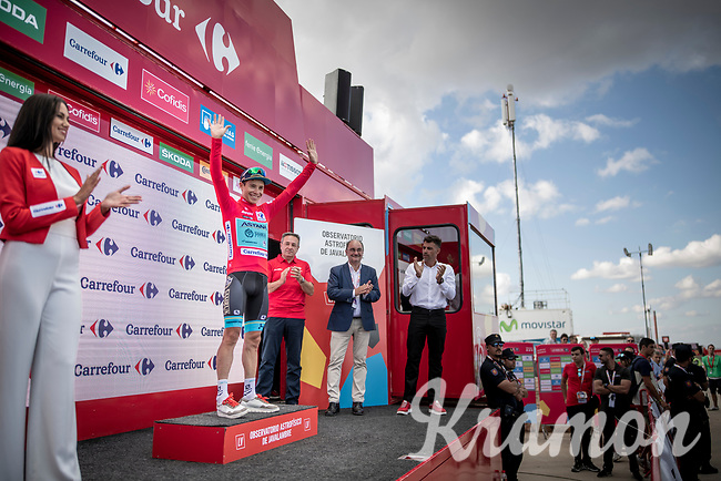 Miguel Angel Lopez (COL/Astana) regained the red jersey (as overall leader) after staying well ahead of his fellow GC-competitors in the first uphill finish of this Vuelta<br /> <br /> Stage 5: L'Eliana to Observatorio Astrofísico de Javalambre (171km)<br /> La Vuelta 2019<br /> <br /> ©kramon