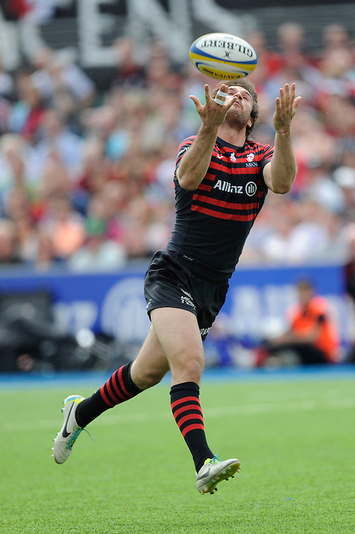 Marcelo Bosch of Saracens calls for a mark as he catches the ball during the Aviva Premiership semi final match between Saracens and Harlequins at Allianz Park on Saturday 17th May 2014 (Photo by Rob Munro)
