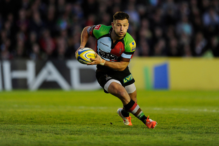 Danny Care of Harlequins in action during the Aviva Premiership match between Harlequins and Leicester Tigers at the Twickenham Stoop on Friday 18th April 2014 (Photo by Rob Munro)