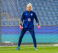 LE HAVRE, FRANCE - APRIL 13: Jane Campbell #18 of the USWNT warms up before a game between France and USWNT at Stade Oceane on April 13, 2021 in Le Havre, France.