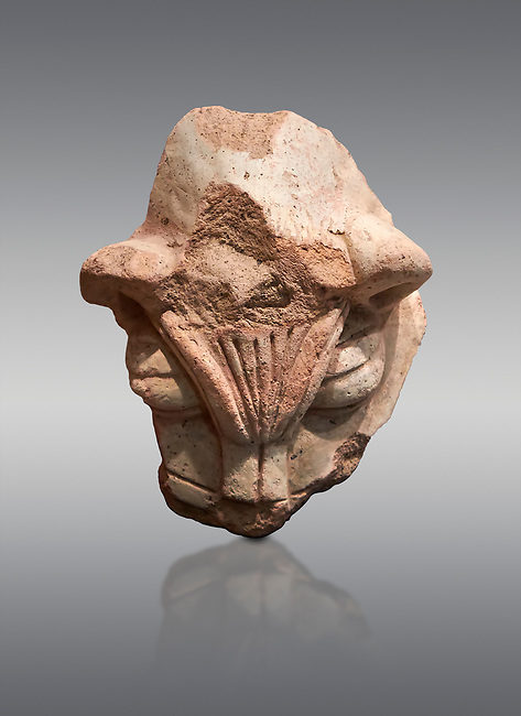 Hittite terra cotta head of a lion. Hittite Period 1650 - 1450 BC, Ortakoy Sapinuva . Çorum Archaeological Museum, Corum, Turkey